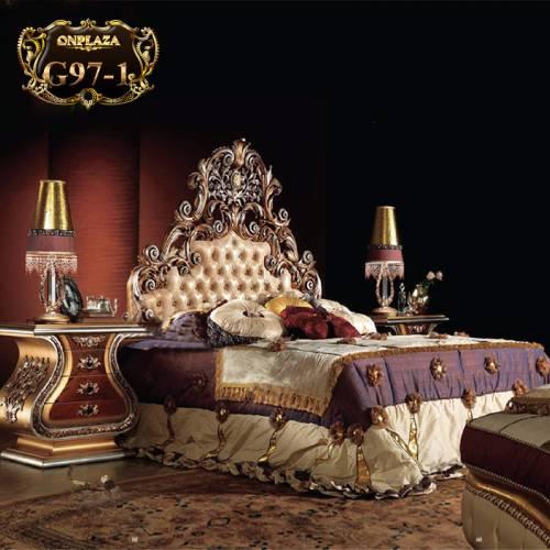 Giường ngủ hoàng gia chạm khắc hoa văn cổ điển sang trọng G97