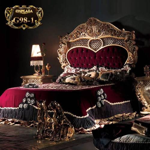 Giường ngủ hoàng gia chạm khắc hoa văn cổ điển G98-1