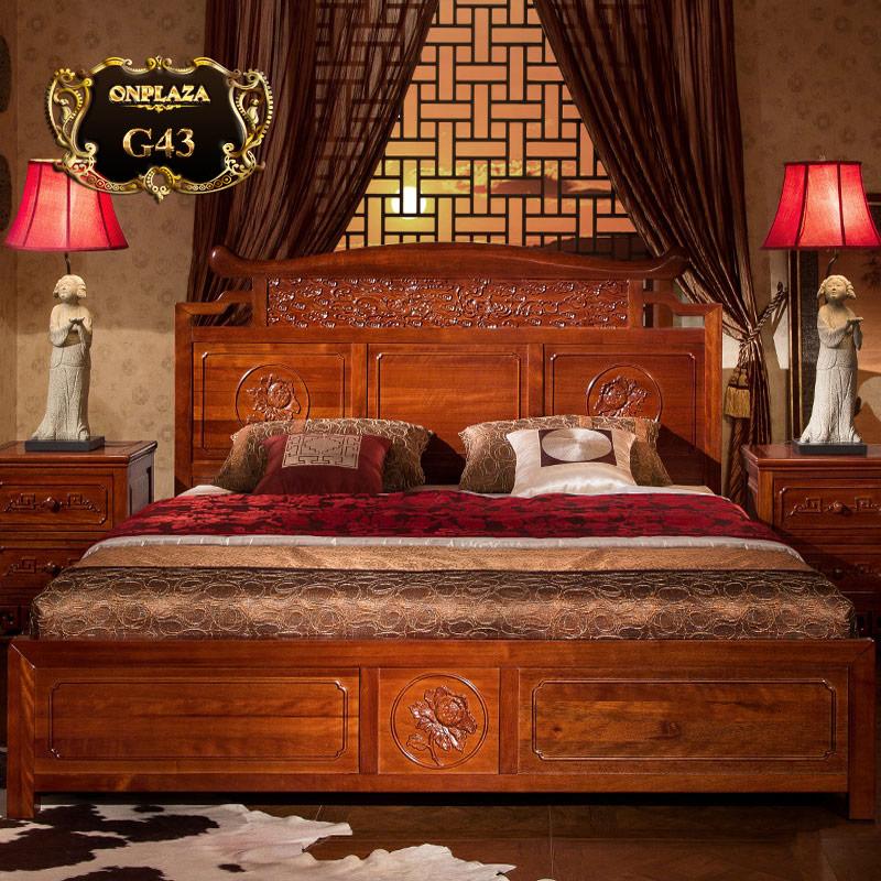 Giường ngủ khắc gỗ cổ điển sắc nâu sang trọng G43