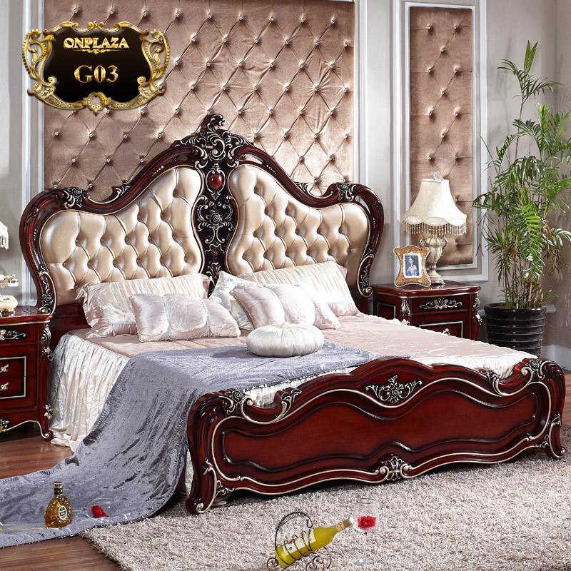 Giường ngủ nhập khẩu phong cách hoàng gia châu âu sang trọng G03