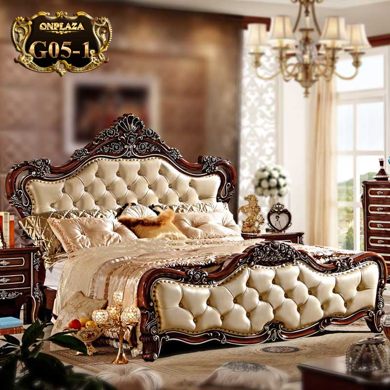 Mẫu giường ngủ tân cổ điển G05 tinh tế