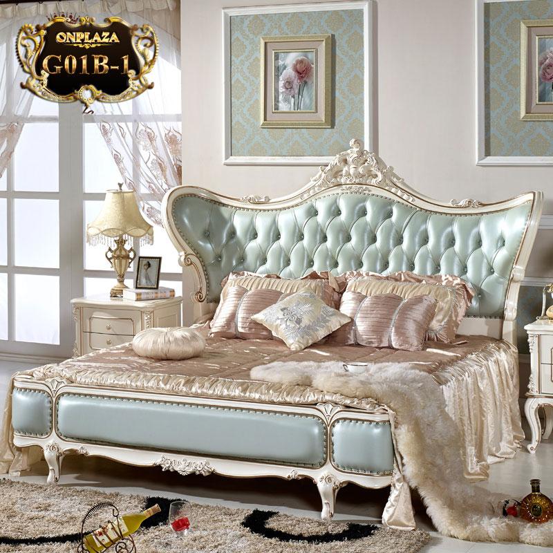 Giường ngủ tân cổ điển phong cách Châu Âu G01 (Màu xanh)