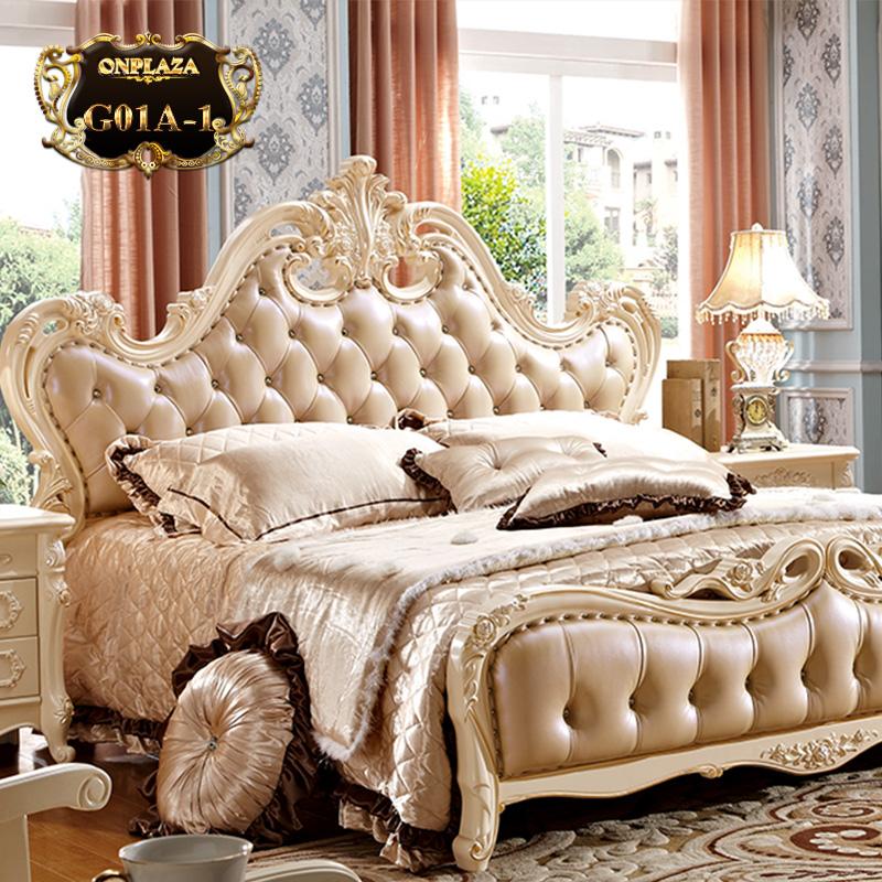 Giường ngủ tân cổ điển phong cách Châu Âu G01A-1 (Màu kem)