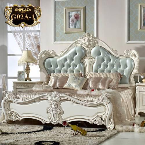 Giường ngủ tân cổ điển phong cách Pháp thời thượng G02A-1 (Màu xanh)
