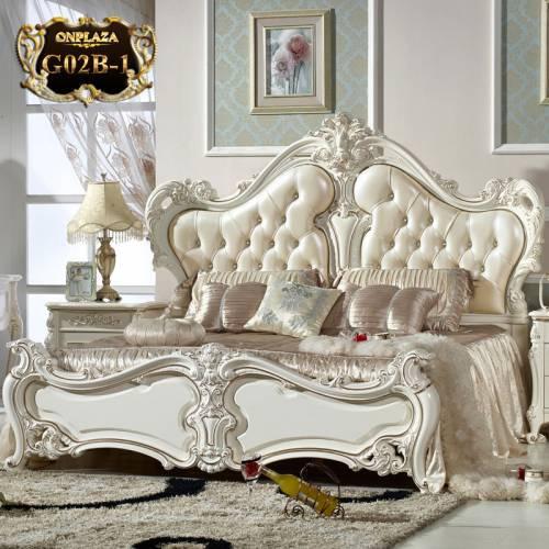 Giường ngủ tân cổ điển phong cách Pháp thời thượng G02B-1 (Màu kem)