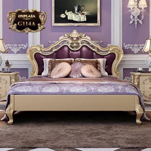 Bộ giường ngủ tân cổ điển sắc tím phong cách châu Âu G114A