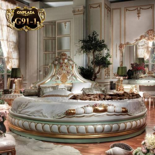 Giường ngủ tròn cao cấp phong cách Hoàng gia quý phái G91-1