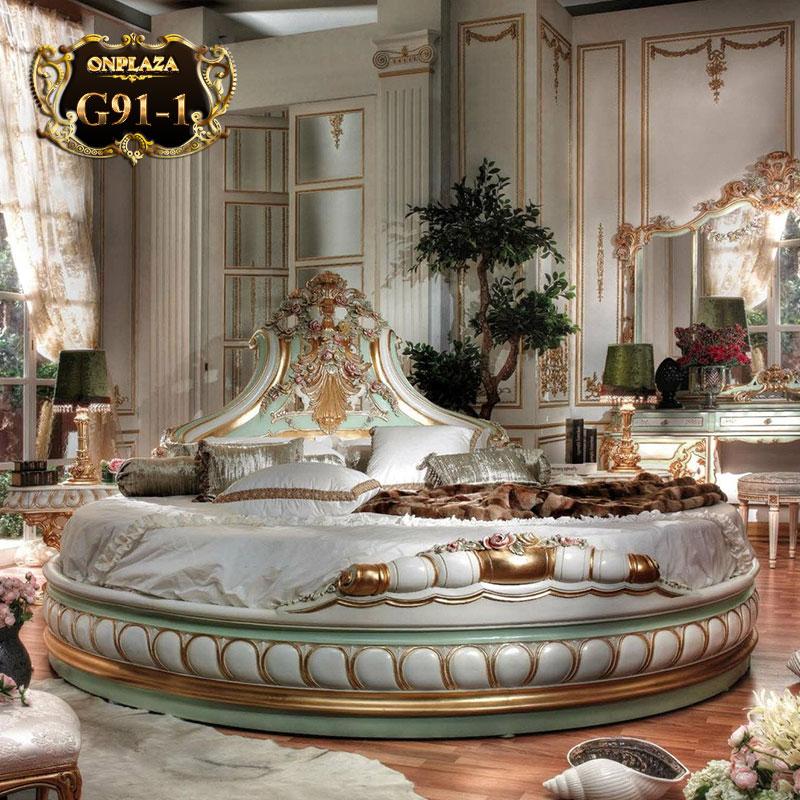 Giường ngủ tròn cao cấp phong cách Hoàng gia quý phái G91