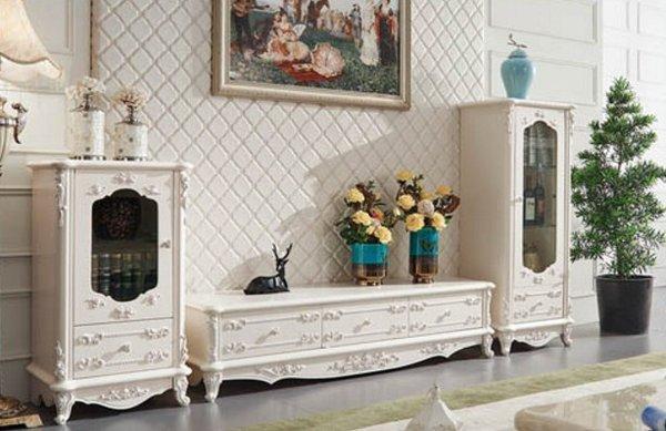 Kệ tivi tân cổ điển phong cách Châu Âu cho phòng khách sang trọng