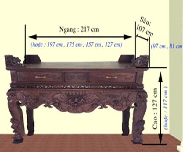 Kích thước bàn thờ theo lỗ ban