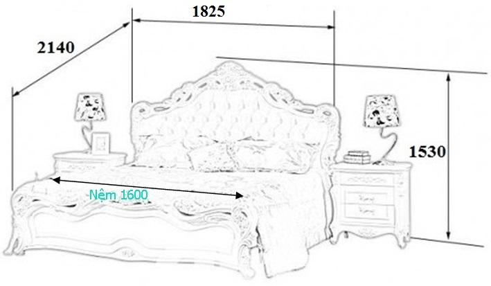 Kích thước tiêu chuẩn giường ngủ đôi cỡ lớn