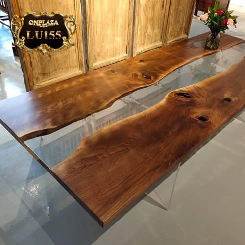 Mặt bàn trà gỗ cẩm thị chân đúc độc đáo LU155