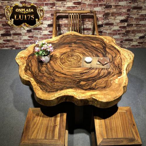 Mặt bàn trà gỗ cẩm thị tự nhiên nguyên khối LU175