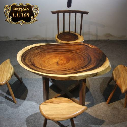 Mặt bàn trà nguyên tấm tự nhiên vân gỗ đẹp cao cấp LU169