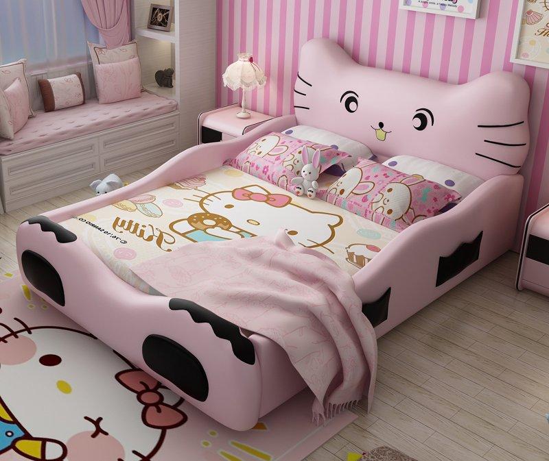 mẫu giường ngủ kiểu hello kitty đẹp cho bé gái
