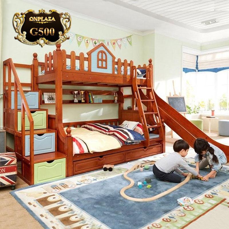 Giường gỗ 2 tầng cho bé có cầu trượt mã G500