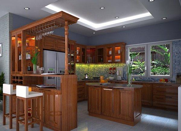 Mẫu nhà bếp đẹp hiện đại có quầy bar và tủ rượu