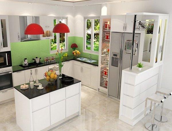 Tủ bếp có quầy bar tủ rượu màu trắng phong cách hiện đại