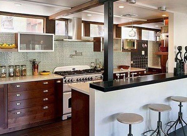 Tủ bếp có quầy bar Không gian tiện nghi, sang trọng, có nét hoài cổ