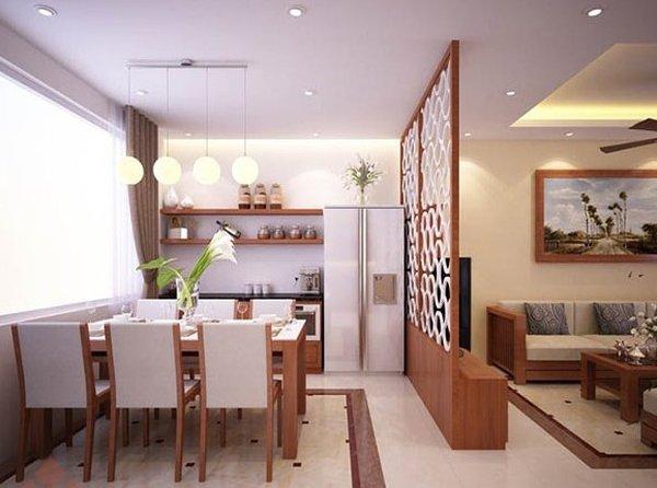 Vách ngăn đẹp nhẹ nhàng và hài hòa với những lỗ nhỏ, thông thoáng tiện quan sát cho cả hai căn phòng