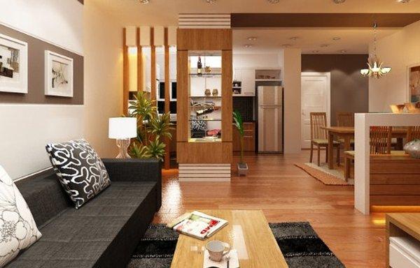 Vách ngăn nhỏ, đủ che chắn cho khu cầu thang và tạo cho căn nhà thành một thể thống nhất về tone màu và chất liệu.