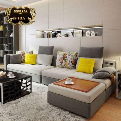 Bộ ghế sofa bọc nhung tiện dụng hiện đại (Màu xám) SF10