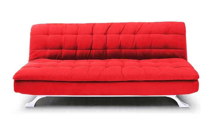 Sofa giường nỉ màu đỏ được ưa chuộng với gia đình trẻ