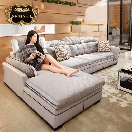 Sofa màu ghi nhập khẩu 3 băng  góc phải cao cấp SF03