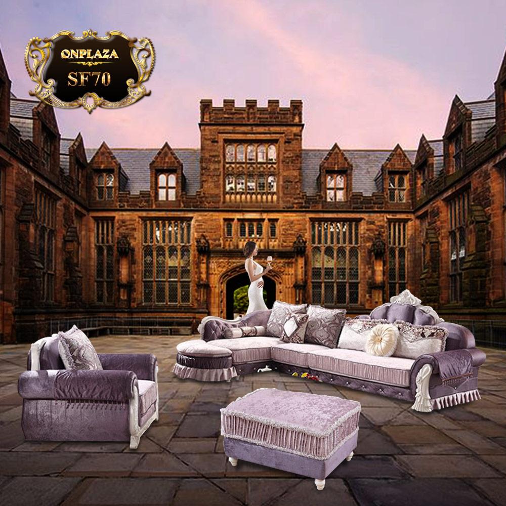 Bộ Sofa phòng khách sắc tím phong cách châu Âu SF70