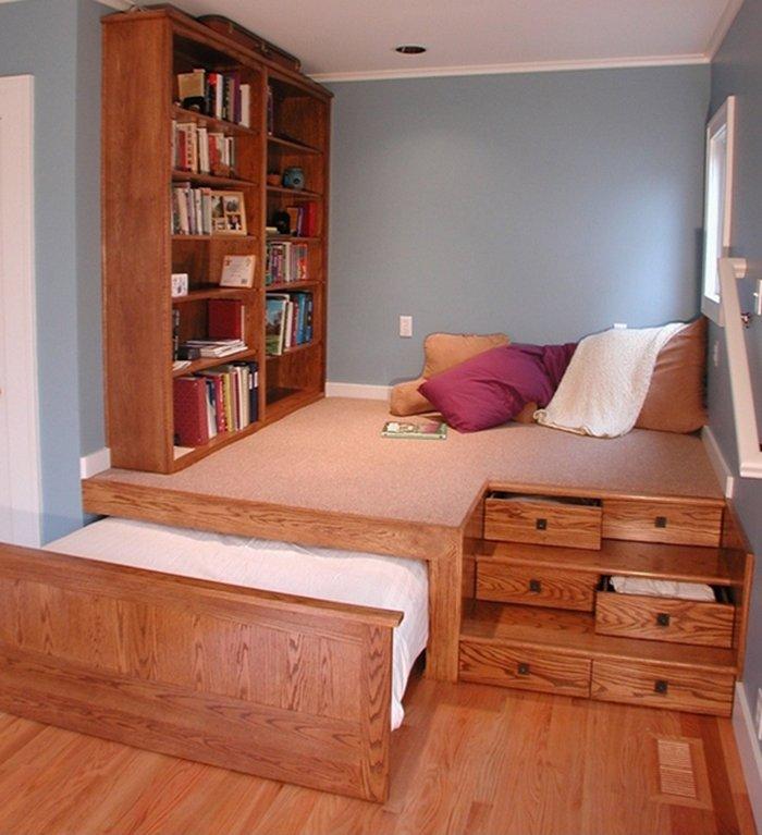 Mẫu giường kiểu nhật thiết kế kết hợp với không gian đọc sách tiện nghi