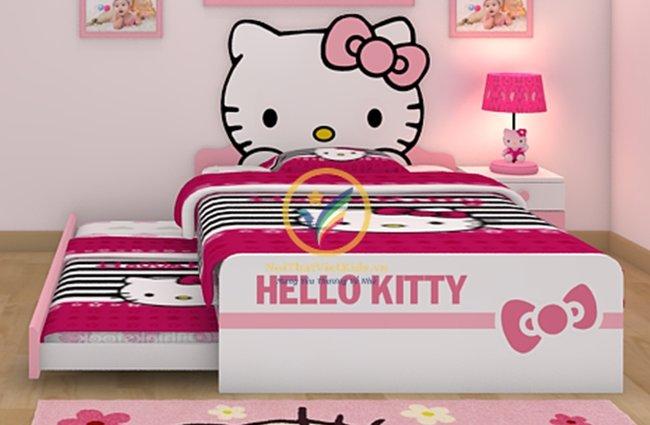 mẫu giường ngủ hello kitty thông minh cho bé