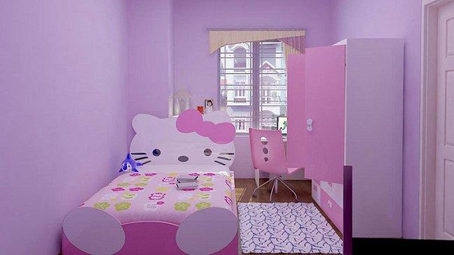Mẫu giường cho bé gái hello kitty đẹp