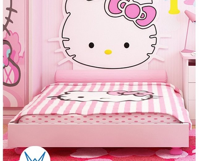 Giường ngủ hello kitty có nơ có ngăn dành cho bé