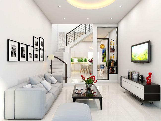 mẫu thiết kế phòng khách nhà ống cho diện tích 4m2 đẹp mắt.