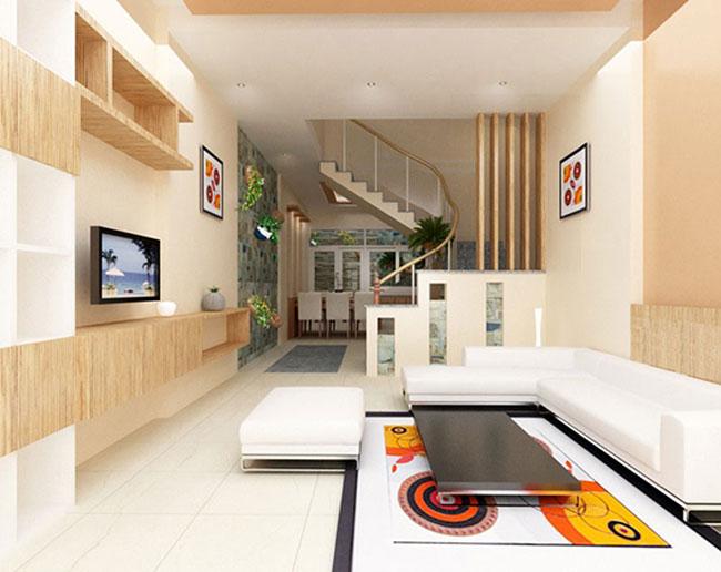 mẫu thiết kế phòng khách độc đáo cho nhà ống được nhiều khách hàng đánh giá cao