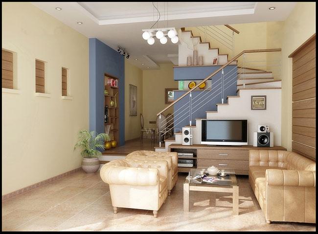 mẫu thiết kế nội thất phòng khách dùng sự tương phản màu sắc hiện đại.