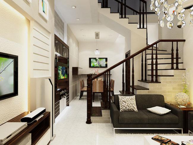Cách thiết kế nội thất phòng khách thông minh cho nhà ống