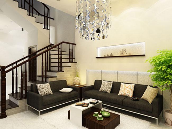 mẫu thiết kế phòng khách trẻ trung và hiện đại cho phòng khách nhà ống