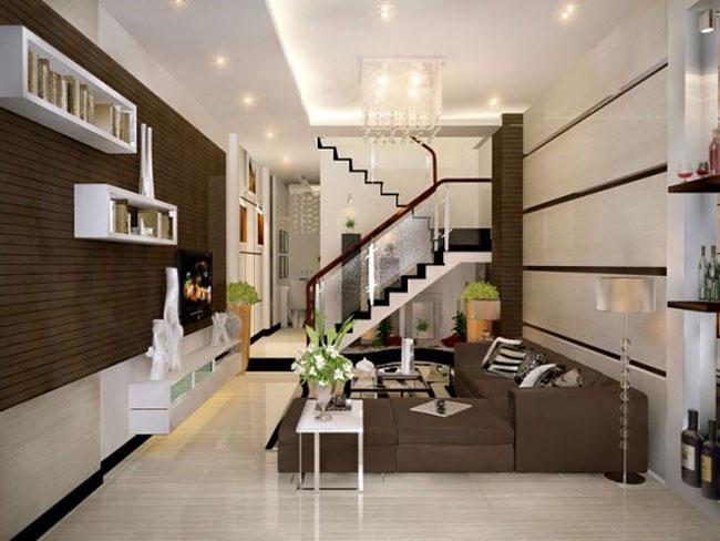 Mẫu thiết kế phòng khách nhà ống đẹp mắt