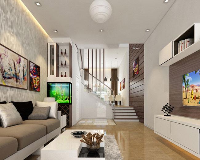 mẫu thiết kế dành cho không gian phòng khách nhà ống hiện đại
