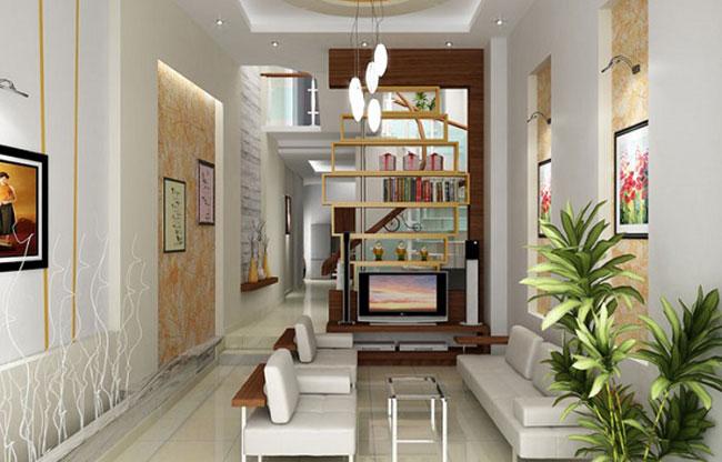 Mẫu thiết kế nội thất phòng khách cho nhà ống 4, 5m2 độc đáo