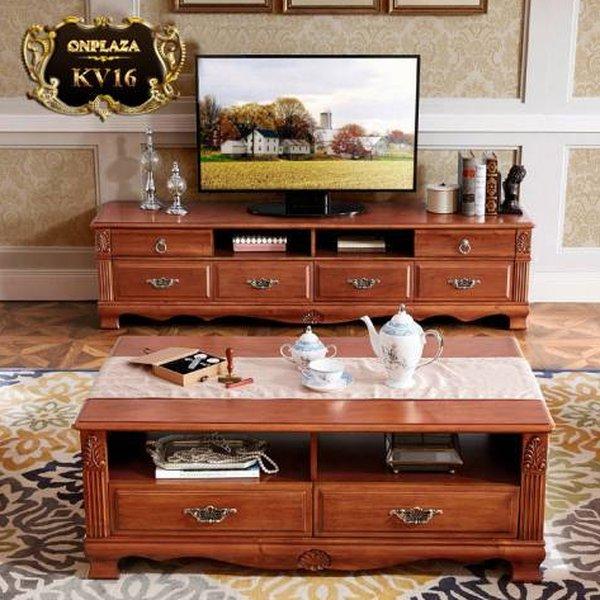 Kệ tủ tivi phòng khách bằng gỗ xoan đào