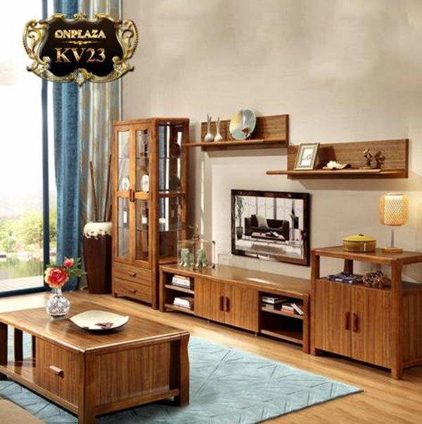 Tủ kệ tivi bằng gỗ xoan đào đẹp giá rẻ