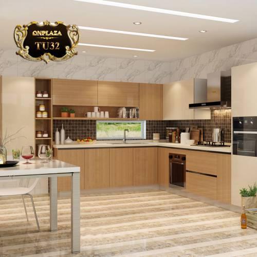 Tủ bếp thiết kế góc chữ L đẹp TU32