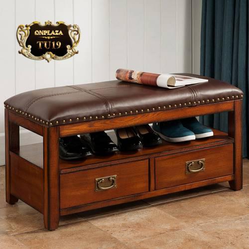 Tủ giầy gỗ bạch dương tự nhiên 2 ngăn kéo nhập khẩu cao cấp TU19