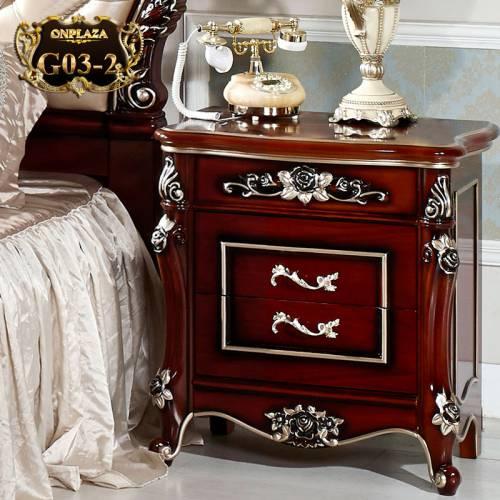 Tủ nhỏ đầu giường chạm khắc phong cách Châu Âu sang trọng G03-2