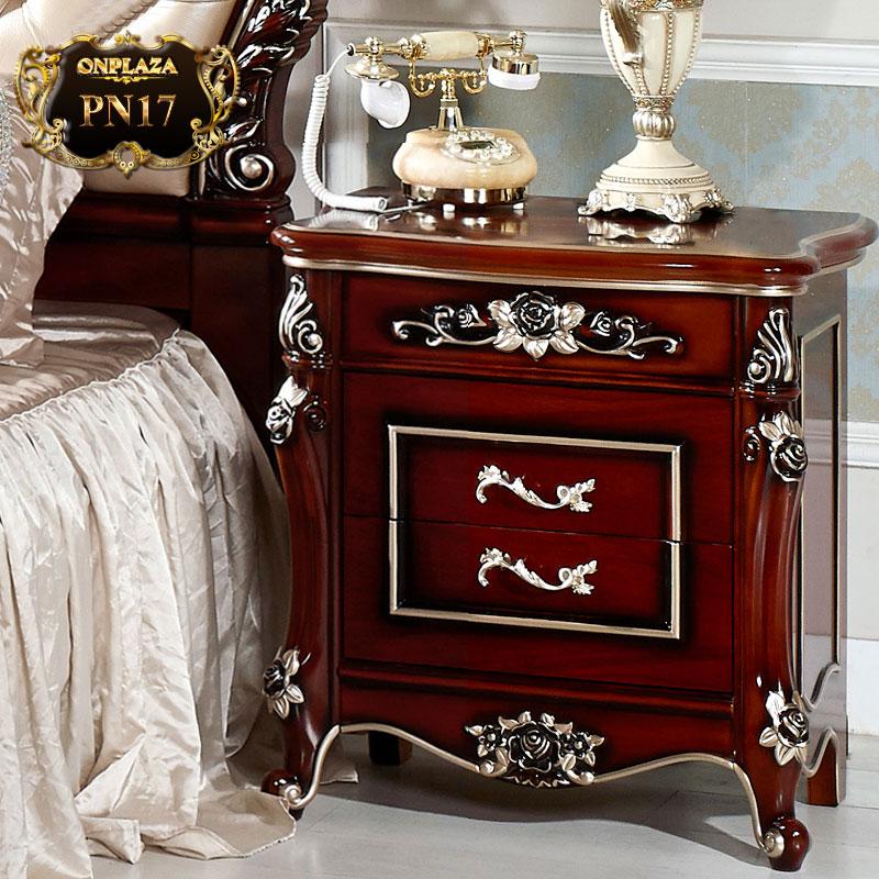 Tủ nhỏ đầu giường chạm khắc phong cách Châu Âu sang trọng PN17