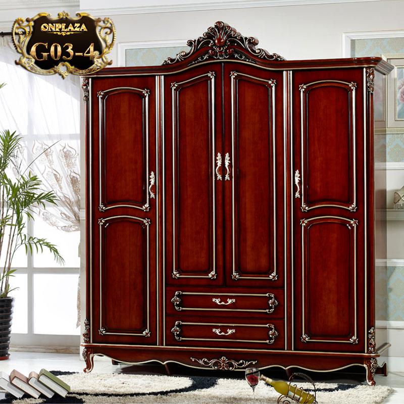 Tủ quần áo chạm khắc phong cách châu âu sang trọng lịch sự G03 – 4.