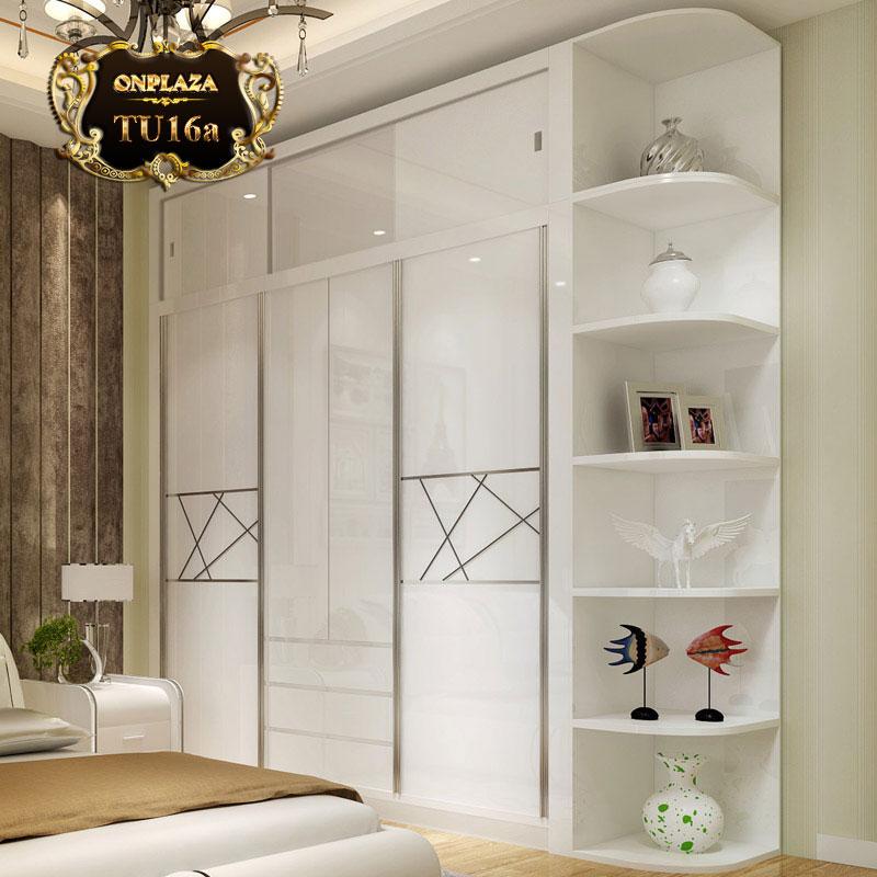 Tủ quần áo kết hợp kệ trang trí nhập khẩu cao cấp TU16