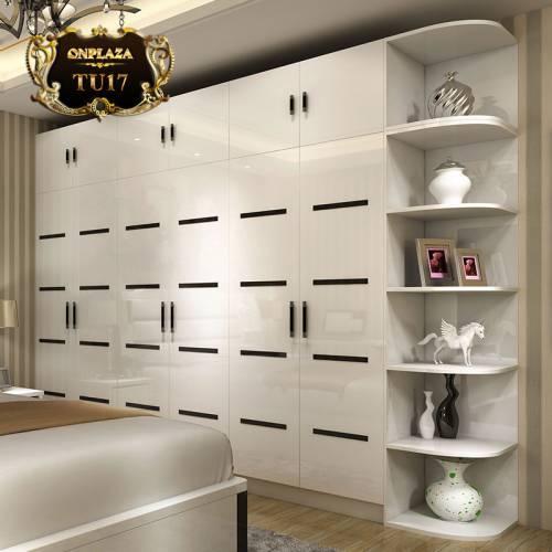 Tủ quần áo kết hợp kệ trang trí nhập khẩu cao cấp TU17